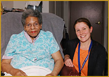 Because of your donations Loretta can remain in her home where she wants to be. (Loretta and her Care Manager, Eliza Chace)